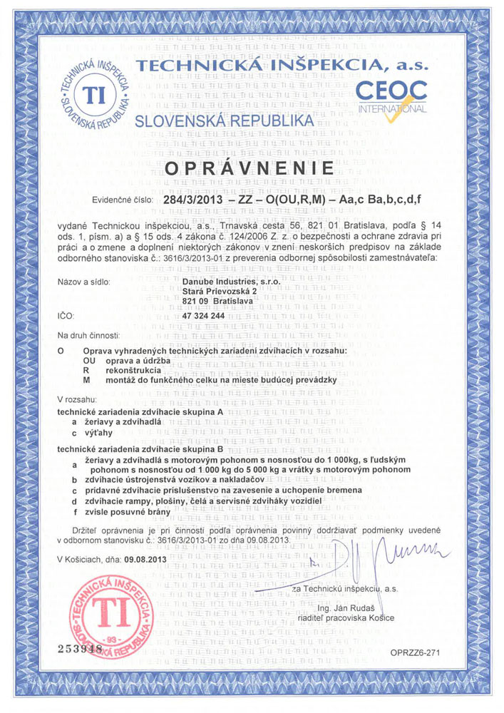 Certificate Danube Industries
