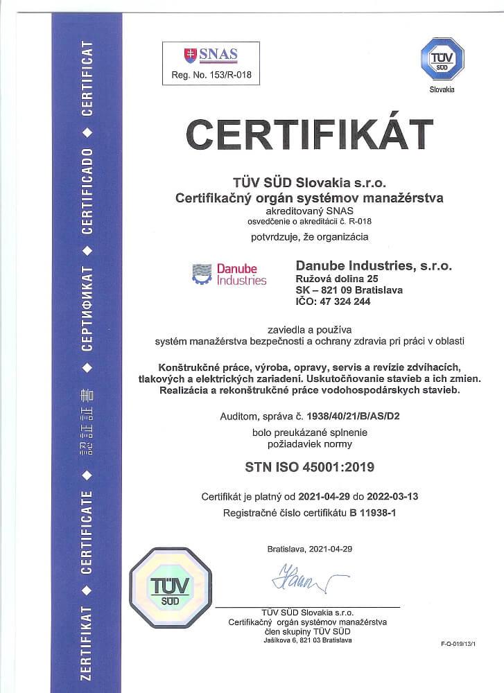 Certifikát Danube Industries
